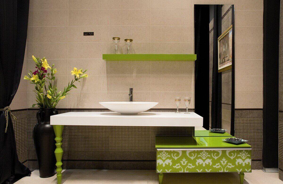 ванная комната с зелёной плиткой фото дизайн #3